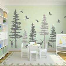 Large Pine Trees Wall Stickers Forest Deer Bedroom Office Vinyl Decal Home Decor Ebay