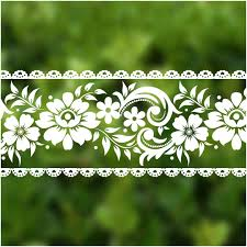 Veelike Lace Border Window Sticker Transparent White Removable Peel And Stick Wallpaper Wall Waist Line Sticker For Wall Glass Window Door Home Decor Diy 4 Inch 32 8 Ft Amazon Com