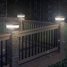 8 X Solar Powered Bronze Led Outdoor Garden Post Deck Cap Square Fence Lights