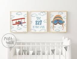 set aviador baby retro decor biplane