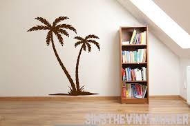 Palm Tree Wall Decal 2 Palm Trees Vinyl Sticker Island Palm Etsy Tree Wall Decal Large Wall Decals Wall Decals