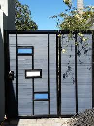 Enchanting Modern Fence Designs Metal Of Steel Frame With Plexiglass Inserts Wood Acnn Decor