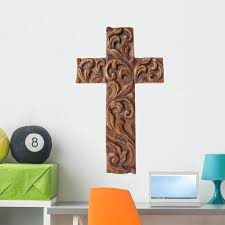 Amazon Com Wallmonkeys Wood Cross Wall Decal Peel And Stick Graphic Wm121616 36 In H X 29 In W Home Kitchen