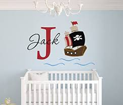 Amazon Com Personalized Pirate Name Wall Decal Pirate Boy Room Decor Nursery Wall Decals Pirate Vinyl Sticker Boys Baby