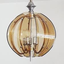 curved smoked glass pendant lamp
