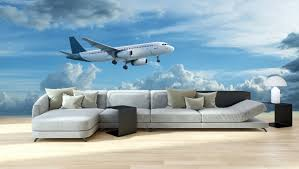 Wall Mural Airplane Is Flying Panoramic View Fabric Wallpaper Royalwallskins