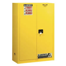 Justrite Sure-Grip® EX 45 Gallon Yellow Storage Cabinet for Flammable  Liquids & Safety Cans with Manual Doors & 2 Shelves - 1155 - Northern Safety  Co., Inc.