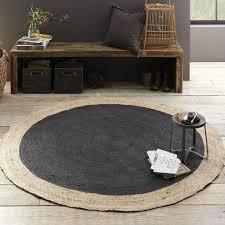 bordered round jute rug slate west