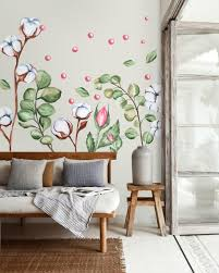 White Cotton Florals With Green Leaf And Pink Rosebud Wall Decal Sticker Wall Decals Wallmur