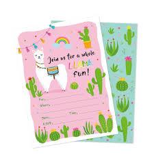Compre Kawaii Alpaca Cactus Fiesta De Cumpleanos Invitaciones