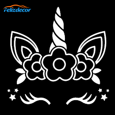 12 12cm Cute Unicorn Face With Flowers Vinyl Decal For Cars Tumblers Cups Laptops Decor Remove Stickers White Black L836 Buy At The Price Of 1 10 In Aliexpress Com Imall Com