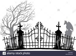 Cemetery Silhouette Black And Gray Tones Stock Vector Image Art Alamy