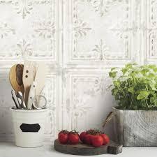 tin tile l and stick wallpaper