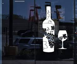 Window Vinyl Wall Decal Wine Bottle Glass Grapes Bar Alcohol Stickers Wallstickers4you