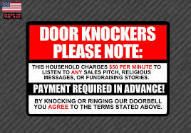 No Soliciting Sign Decal Sticker 50 Per Minute Door Knockers Funny Wi Owntheavenue