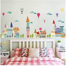 Amazon Com Jeash Cartoon House Removable Wall Sticker Children S Bedroom Living Room Tv Background Wall Stickers Home Decorations Kindergarten Nursery Home Stickers Home Kitchen