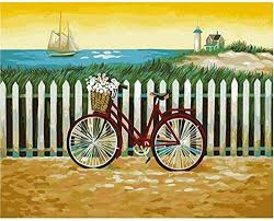 Ygghj Paint By Numbers Diy Oil Painting Fence Bike Canvas Print Wall Art Home Decoration Amazon Co Uk Kitchen Home