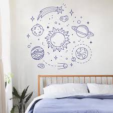 Space Solar System Planets Stars Satellites Wall Room Decoration Vinyl Mural Art Wall Decal Sticker For Bedroom Kids Room Wl1587 Wall Stickers Aliexpress