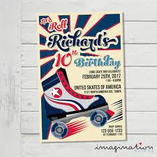 Roller Skate Invitation Roller Skating Birthday Party Invite Usa