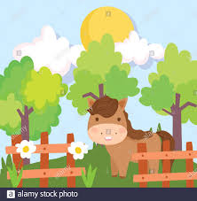 Farm Animals Horse Wooden Fence Flowers Trees Sun Sky Cartoon Vector Illustration Stock Vector Image Art Alamy