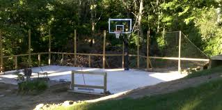There Is The Net Fence Behind The Court And The Hoop Backyard Basketball Basketball Court Backyard Backyard
