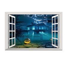 Mnycxen Creative Three Dimensional Fake Window 3d Halloween Pumpkin Castle Wall Sticker Walmart Com Walmart Com