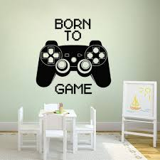Born To Game Wall Decal Gaming Controller Wall Art Sticker Gamer Gift Home Boys Room Decor Removable Games Wall Mural Ay1625 Leather Bag