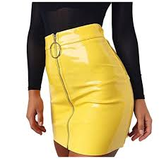 yellow leather skirt com
