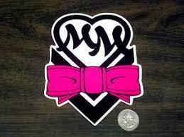 Girls Metal Mulisha Pink And Black Bow Heart Sticker Car Window Decal Ride Gear Ebay