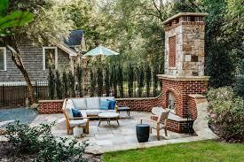 backyard patio area with brick