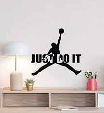 Amazon Com Jumpman Wall Decal Just Do It Michael Jordan Quote Basketball Sign Poster Motivational Gym Vinyl Sticker Gifts Fitness Decor Wall Made In Usa Fast Delivery Home Kitchen