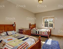 Kids Bedroom With Twin Beds And Boy Decor Stock Photo Download Image Now Istock