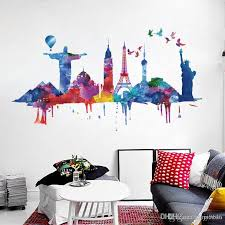 Large Famous Landmark Wall Sticker Pvc Watercolor Building Self Adhesive Wall Decal For Living Room Bedroom Decoration Stickers On The Wall Stickers On The Wall Decoration From Carrierxia 3 61 Dhgate Com