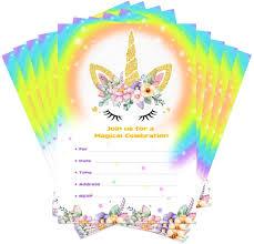 Amazon Com Aytai 20 Piezas Rainbow Unicorn Invitaciones De