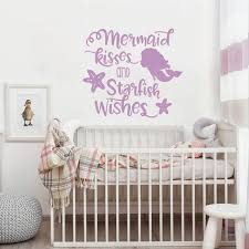 Mermaid Kisses And Starfish Wishes Wall Decal Little Mermaid Etsy