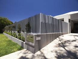 Vertical Fence Design Idea Installed By Screenstyle Wa At City Beach Perth Fence Design Modern Fence Front Fence