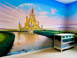 stunning disney castle mural by