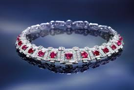 art deco ruby and diamond necklace