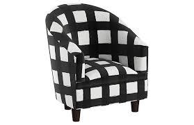Ashlee Kids Chair White Black Linen One Kings Lane