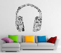 Music Headphones Wall Decal Vinyl Stickers Music Notes Home Etsy Vinyl Wall Decals Music Room Decor Music Bedroom