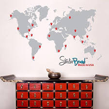Stickerbrand Vinyl Wall Art World Map Of Earth With Pin Drops Wall Decal Sticker Grey Map W Red Black World Map Wall Decal Map Wall Decal World Map With Pins