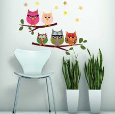 Five Owls On Branch Wall Decals Eco Friendly Fabric Wall Stickers