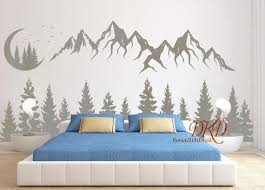 Wall Decal Mountain Landscape With Moon Pine Tree Mountain Etsy In 2020 Bedroom Wall Baby Room Decor Room