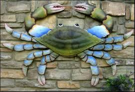blue crab metal art painted metal wall