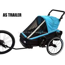 3 in 1 Double Kids Bike Trailer Convert to Twins Stroller Or Baby Jogger  with Aluminium Alloy Frame|