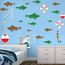Removable Fish Fisherman Fishing Rod Wall Decals For Bedroom