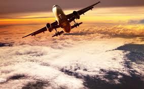 تحميل خلفيات طائرة ركاب غروب الشمس السماء الطائرات في السماء