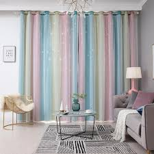 Hollow Star Sheer Curtains Curtain Rainbow Color Curtains Girl Kids Bedroom Blackout Curtain Decoration Y200421 Pink Curtains Living Room Curtains From Shanye09 18 29 Dhgate Com