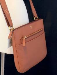 nwt fossil tessa pebble brown leather