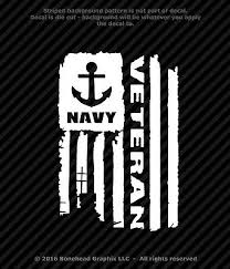 Distressed Navy Veteran Flag Vinyl Decal Military Window Sticker 4 Sizes Ebay